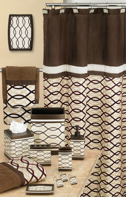 Harmony Shower Curtain & Bathroom Accessories - Chocolate from Popular Bath
