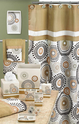 Suzani Shower Curtain & Bathroom Accessories - Gold from Popular Bath