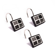 Mosaic Shower Curtain Hooks - Black