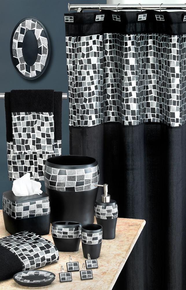Mosaic Shower Curtain Bathroom Accessories Black