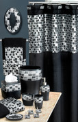 Mosaic Shower Curtain & Bathroom Accessories - Black from Popular Bath