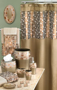 Mosaic Shower Curtain & Bathroom Accessories - Bronze from Popular Bath