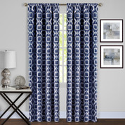 Tara Room Darkening Rod Pocket Curtains - Navy Blue from Achim