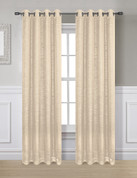 Glitter Grommet Top Curtain Panel - Cream
