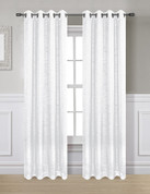 Glitter Grommet Top Curtain Panel - White