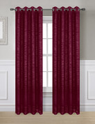 Glitter Grommet Top Curtain Panel - Burgundy