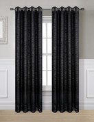 Glitter Grommet Top Curtain Panel - Black