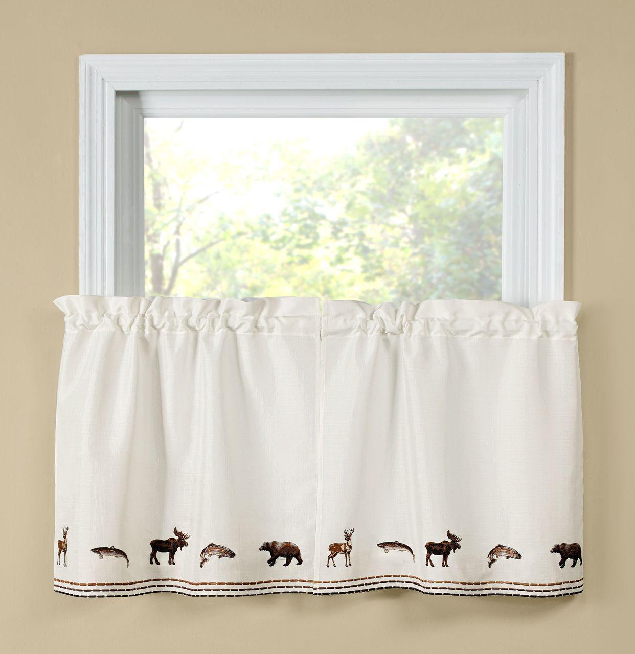 "Lodge 24"" Kitchen Curtain Tier"