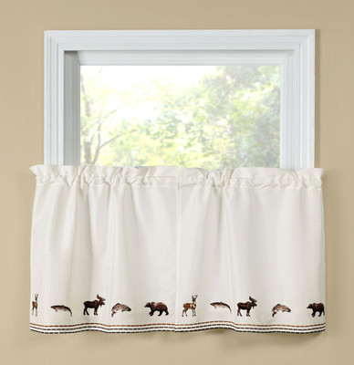 "Lodge 24"" kitchen curtain tier"