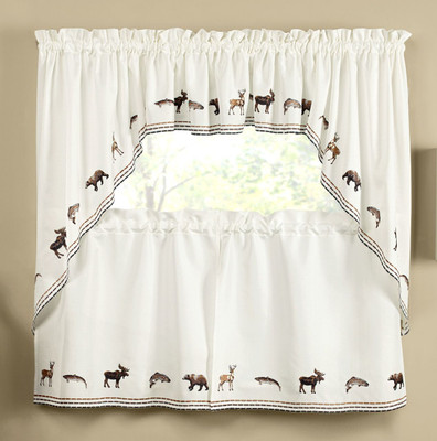 Exceptionnel Lodge Outdoors Embroidered Kitchen Curtains