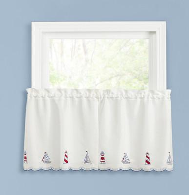 """Lighthouse 24"""" kitchen curtain tier"""