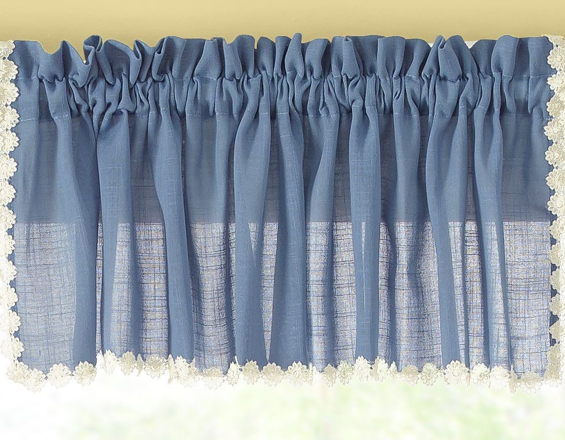 Andrea kitchen valance - Colonial Blue - Linens4Less.com