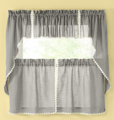 Andrea Kitchen Curtain - Gray