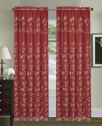 Carina Embroidered Curtain Panel - Burgundy/Gold