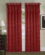 Tahiti Embroidered Curtain Panel - Burgundy/Gold