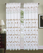 Tahiti Embroidered Curtain Panel - White/Sage