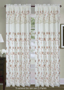 Tahiti Embroidered Curtain Panel - Beige/Gold