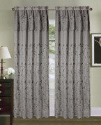 Tahiti Embroidered Curtain Panel - Grey/Silver