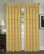 Tahiti Embroidered Curtain Panel - Gold/Burgundy