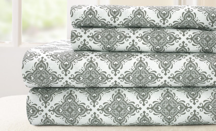 200 Thread Count Printed Sheet Set 100% cotton - Casablanca Gray