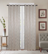 Diamond Grommet Top Curtain Panel - Beige