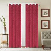 Viola Velour Grommet Top Curtain Panel - Burgundy