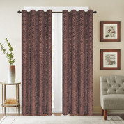 Viola Velour Grommet Top Curtain Panel - Chocolate