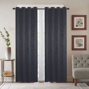 Gabriella Blackout Grommet Top Curtain Panel - Black