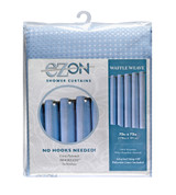 Waffle Weave Hookless Fabric Shower Curtain with Liner - Blue Fog