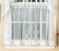 "Laurel 24"" kitchen curtain tier - White"