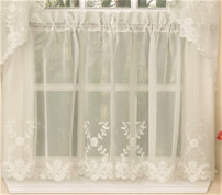 "Laurel 36"" kitchen curtain tier - Ivory"