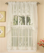 Laurel Embroidered Kitchen Curtain - Ivory