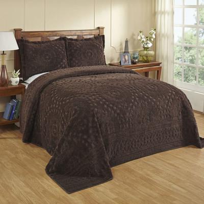 Rio Chenille Bedspread - Chocolate Brown