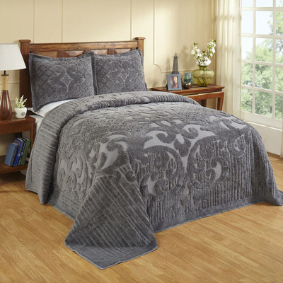 Ashton Chenille Bedspread - Grey