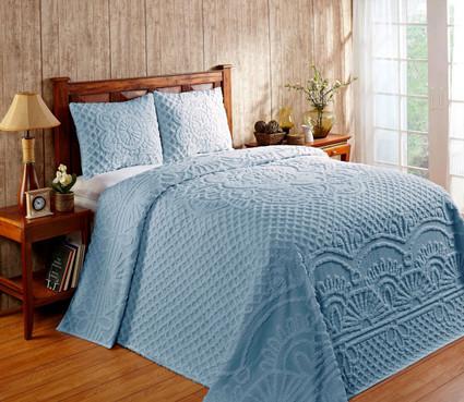 Trevor Chenille Bedspread SET - Blue