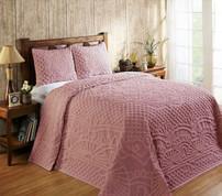 Trevor Chenille Bedspread SET - Pink