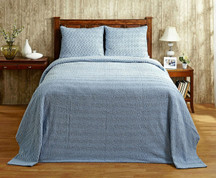 Natick Chenille Bedspread - Blue