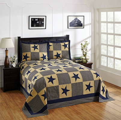 Star Cotton Patchwork Bedspread SET - Blue from Better Trends
