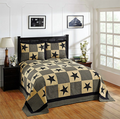 Star Cotton Patchwork Bedspread SET - Black from Better Trends
