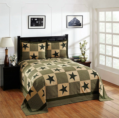 Star Cotton Patchwork Bedspread SET - Green from Better Trends