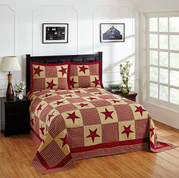 Star Cotton Patchwork Bedspread SET - Red from Better Trends