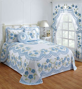 Bloomfield Cotton Chenille Bedspread - Blue