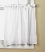 "Candlewick 24"" kitchen curtain tier - White"