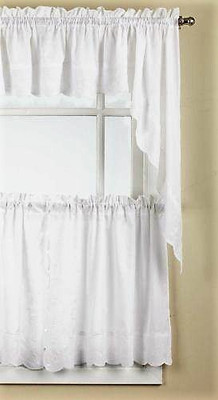 Candlewick Embroidered Kitchen Curtain - White