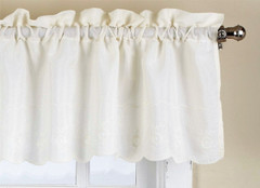 Candlewick kitchen curtain valance - Cream
