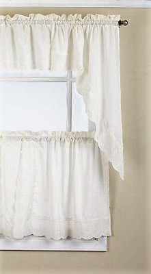 Candlewick Embroidered Kitchen Curtain - Cream