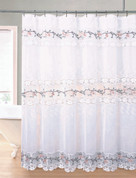 Rose Garden Organza Macrame Shower Curtain - White