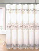 Rose Garden Organza Macrame Shower Curtain - Ecru