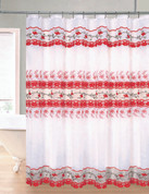 Rose Garden Organza Macrame Shower Curtain - Red