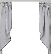 Ribcord kitchen curtain swag - Gray